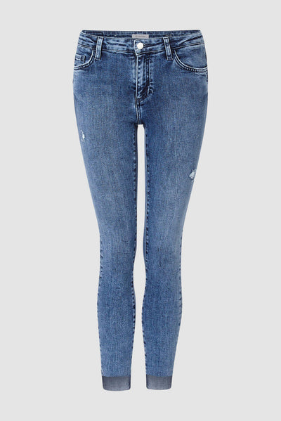 Destroyed Midi Deep Blue Denim Jeans