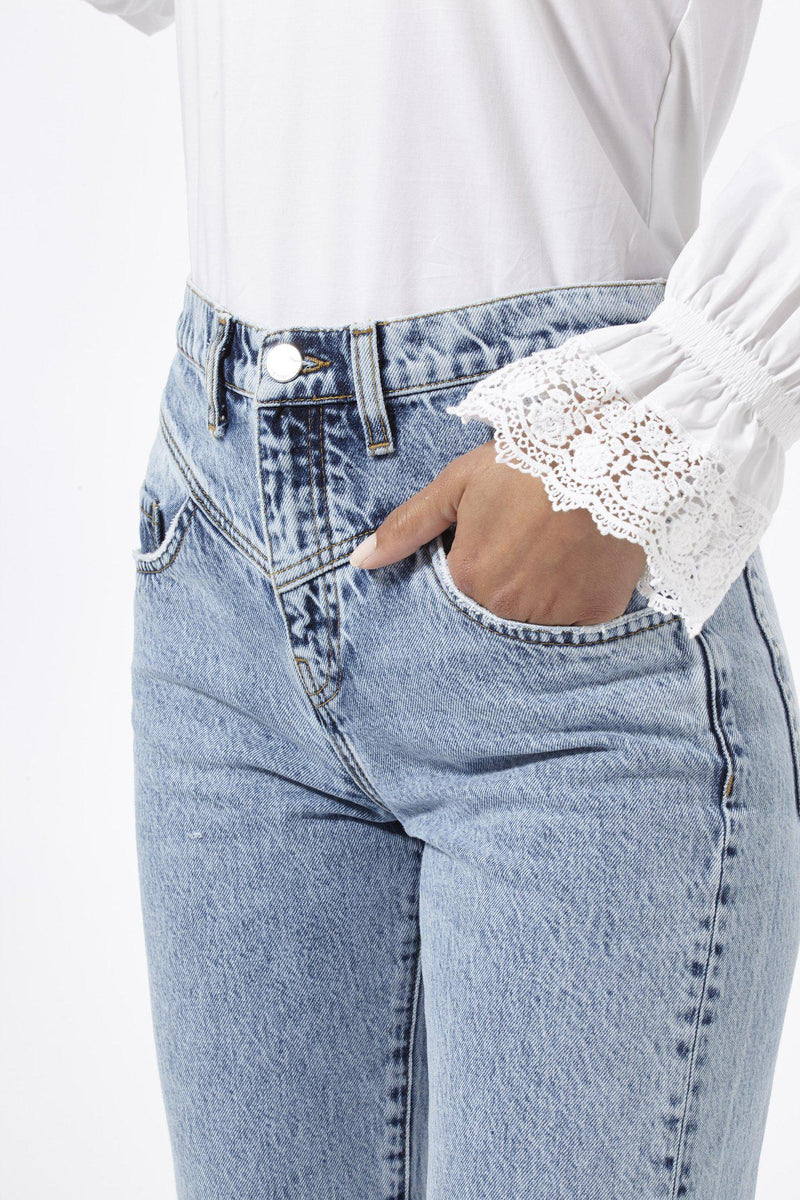 Rich & Royal - Vintage-Straight Jeans in Salt & Pepper - Detailansicht