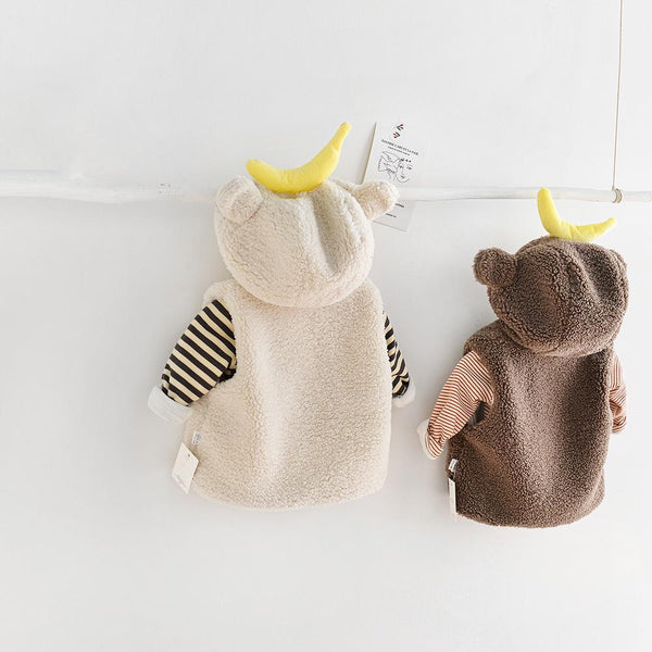 Alex + Nova Banana Monkey Ears Plush Hoodie Vest - Alex + Nova