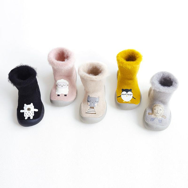 Alex + Nova Cartoon Printed Winter Plush Booties - Alex + Nova