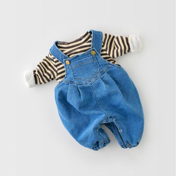 Alex + Nova Cody Denim Plush Baby Romper - Alex + Nova