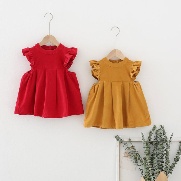 Alex + Nova Debbie Ruffled Corduroy Dress - Alex + Nova