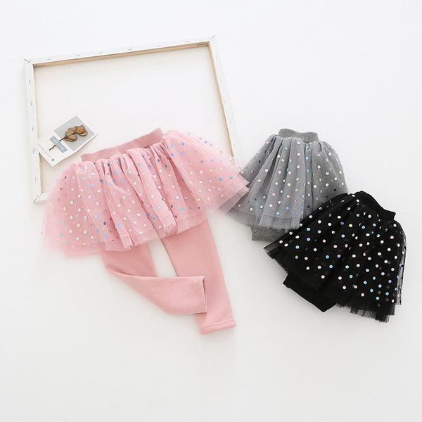 Alex + Nova Rainbow Polka Dots Tutu Plush Skirt Leggings - Alex + Nova