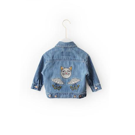 Alex + Nova Embroidered UFO Kitty Denim Jacket - Alex + Nova