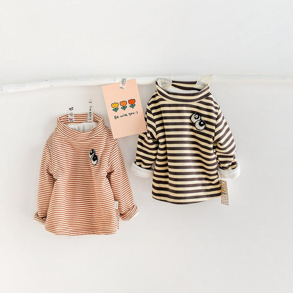 Alex + Nova Big Eyes Patch Stripes Plush Top - Alex + Nova