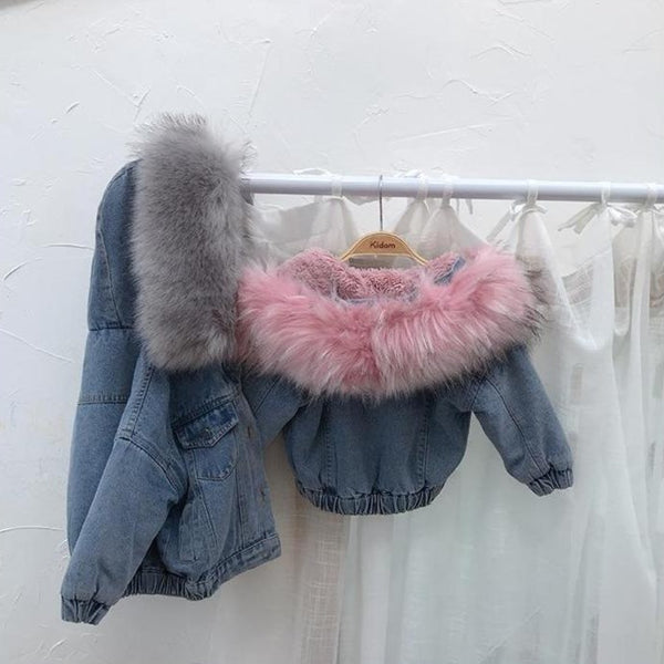 Alex + Nova Molly Denim Fur Hooded Winter Coat Jacket - Alex + Nova