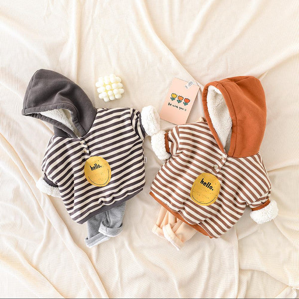 Alex + Nova Hello! Stripes Winter Hooded Sweater - Alex + Nova