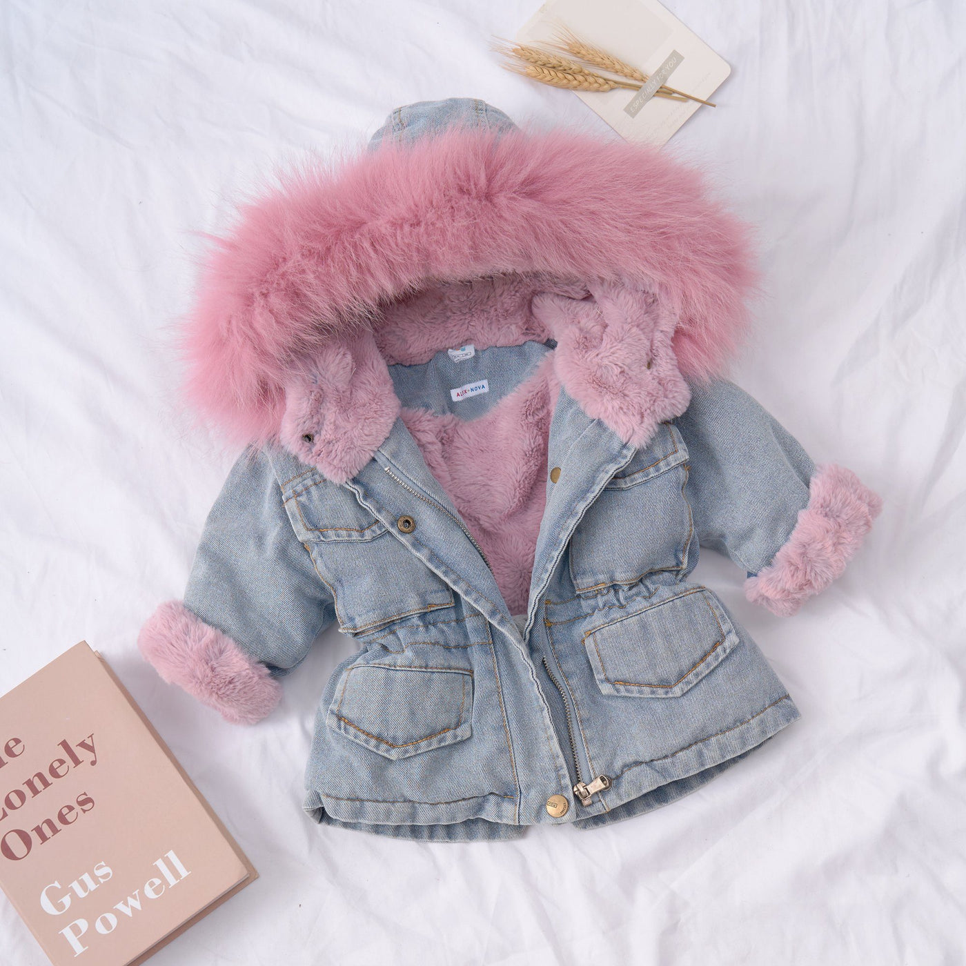 Alex + Nova Holly Oversized Denim Fur Hooded Winter Coat Jacket - Alex + Nova