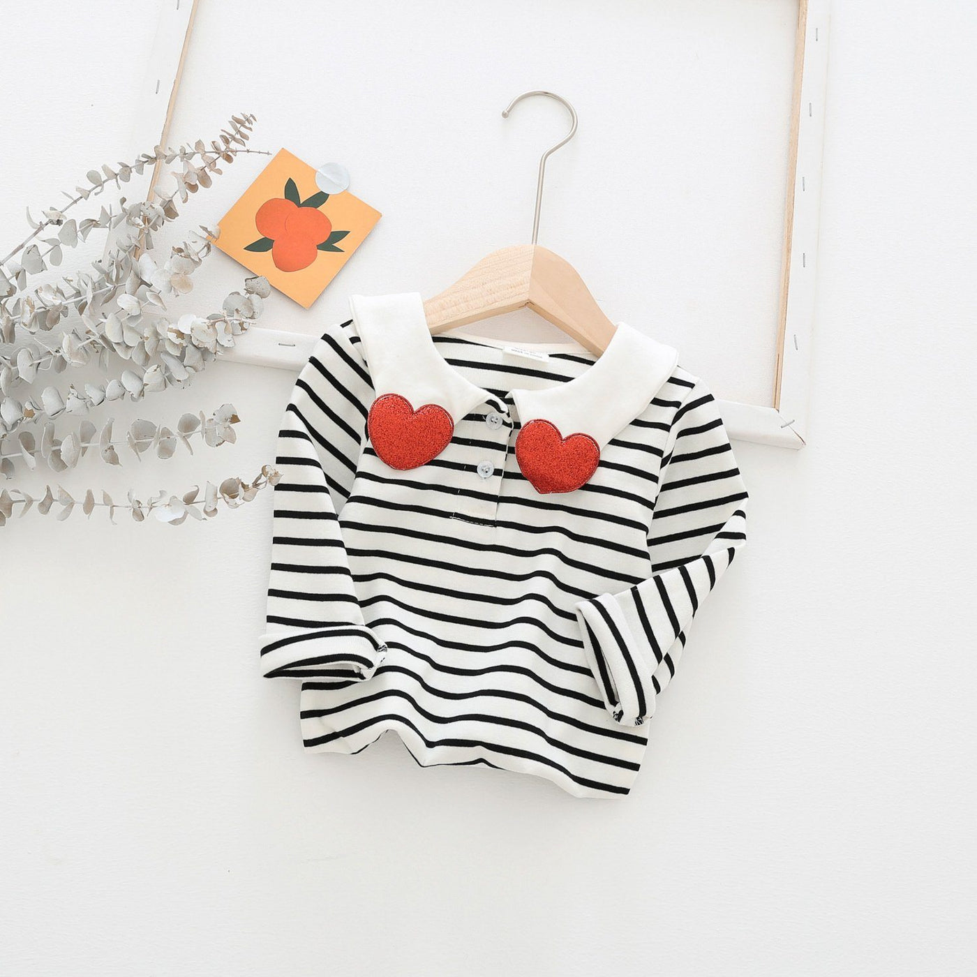 Alex + Nova Lovely Heart Collar Stripes Top - Alex + Nova