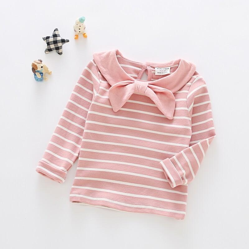Alex + Nova Mia Bows Collar Stripes Top - Alex + Nova