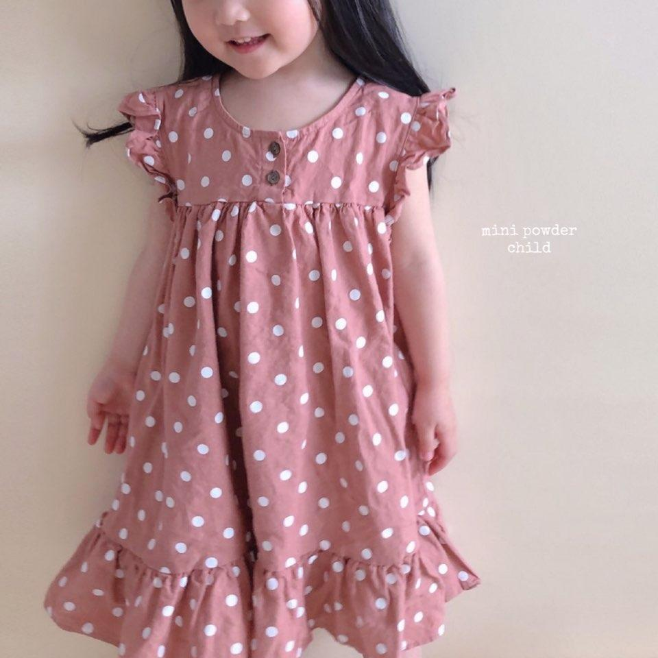 Mini Powder Polka Dot Linen Long Dress - Alex + Nova