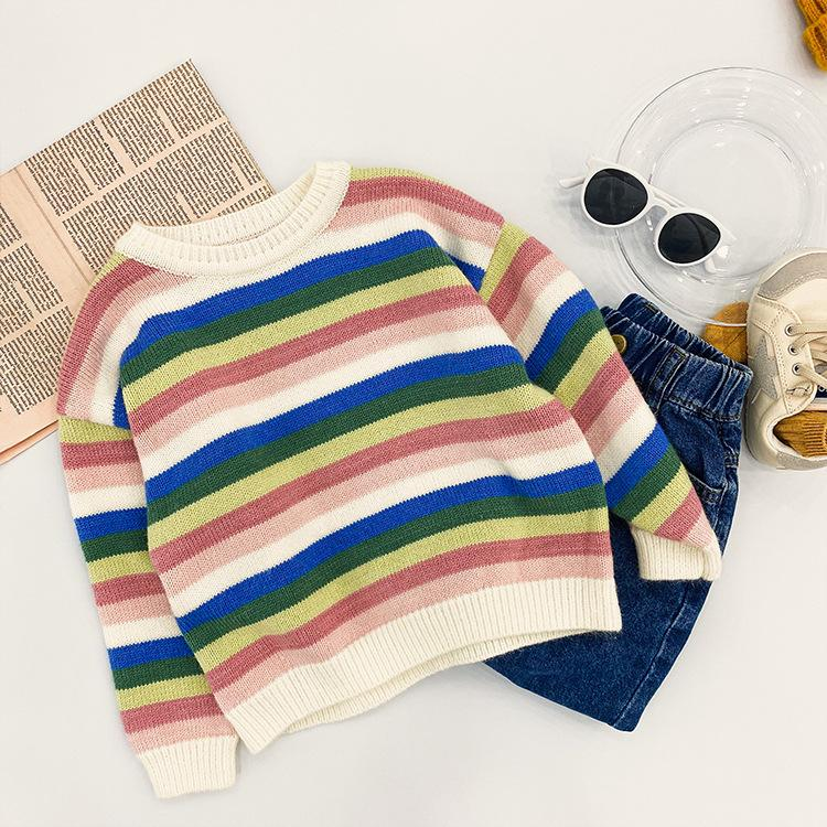 Alex + Nova Rainbow Stripes Knitted Sweater - Alex + Nova
