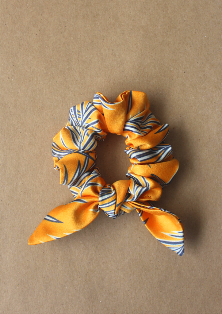 Navy leaves bow scrunchie