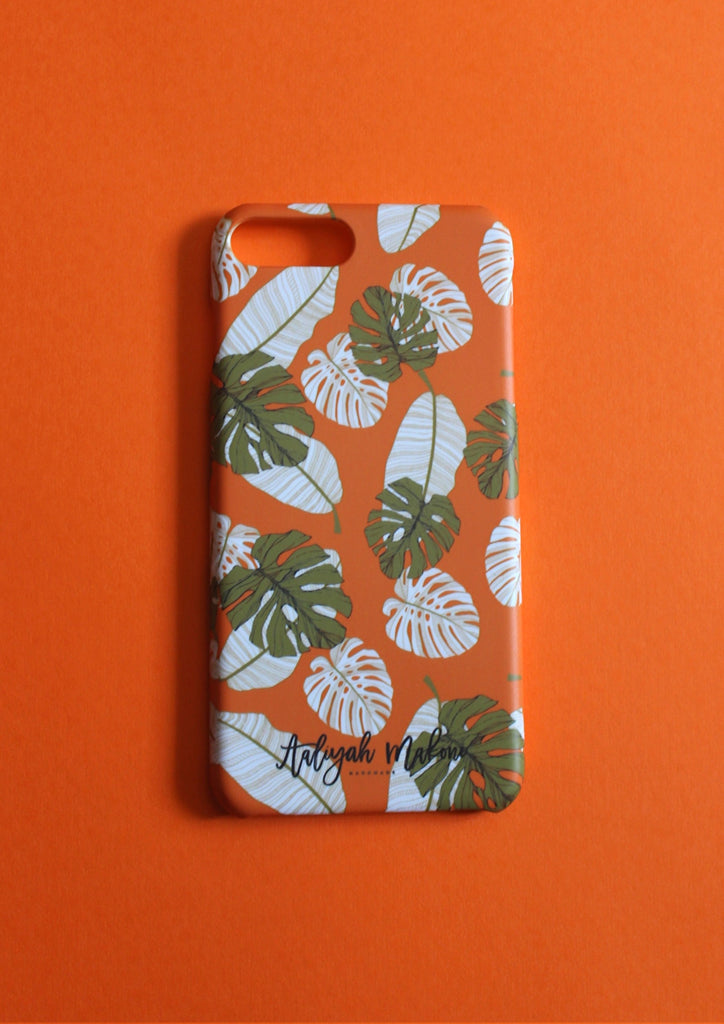 Orange botannical print phone case