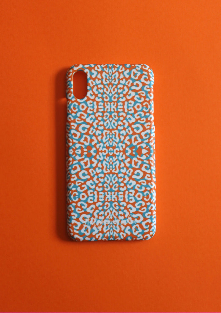 Orange leopard print phone case