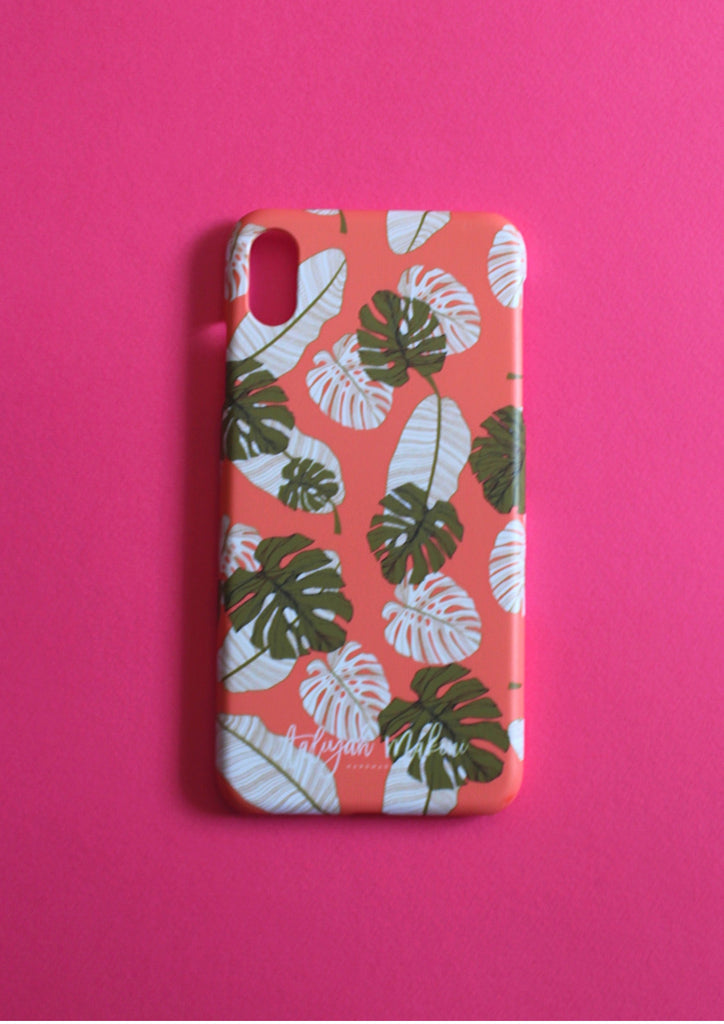 Coral botannical print phone case