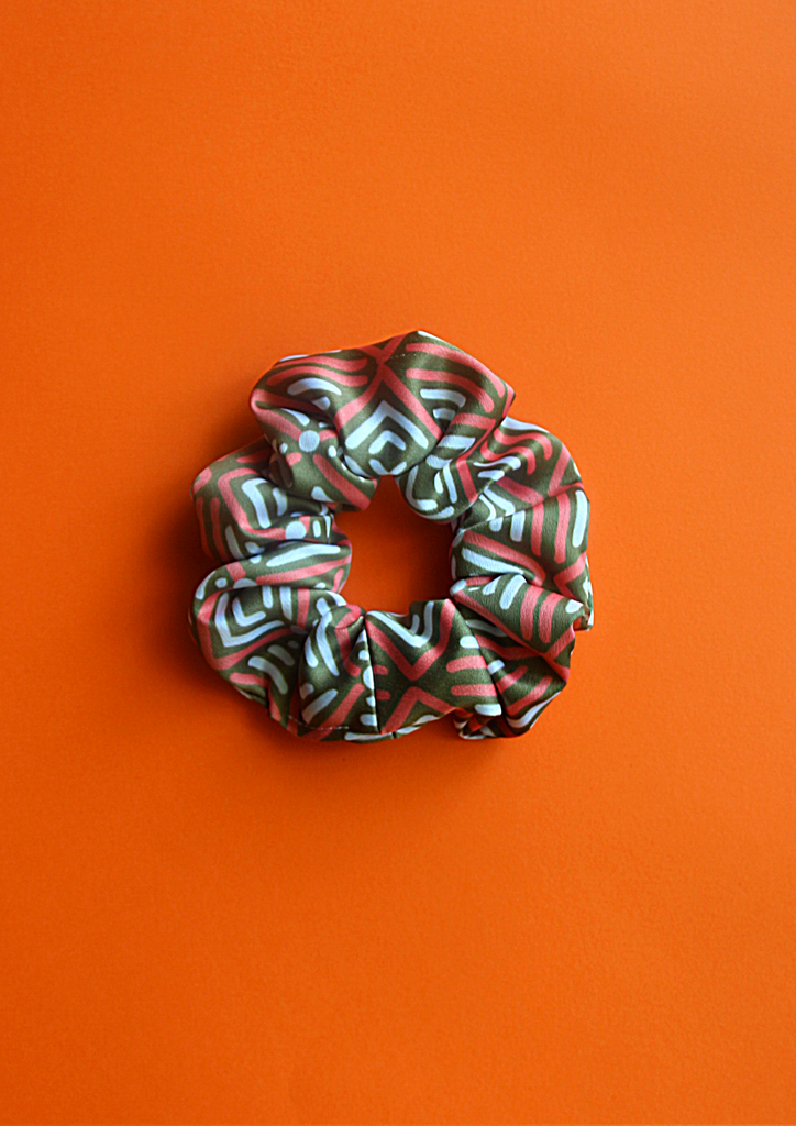 Green tribal scrunchie