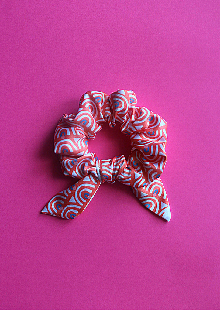 Pink ethnic bow scrunchie