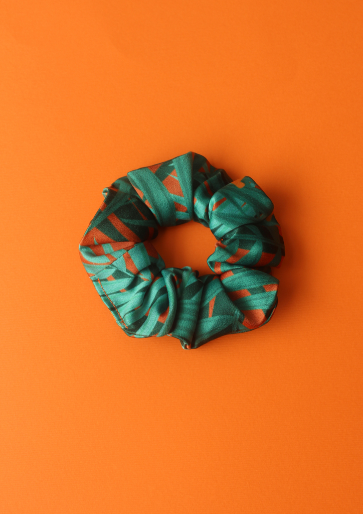 Green jungle leaves scrunchie