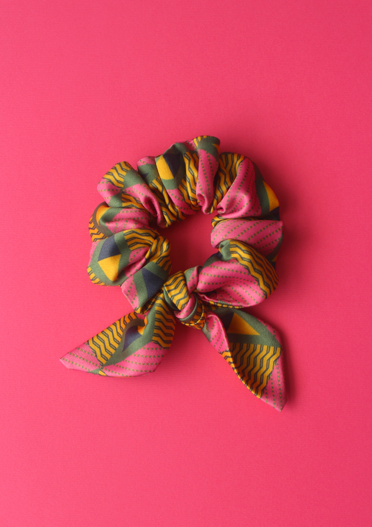 Pink carnation bow scrunchie