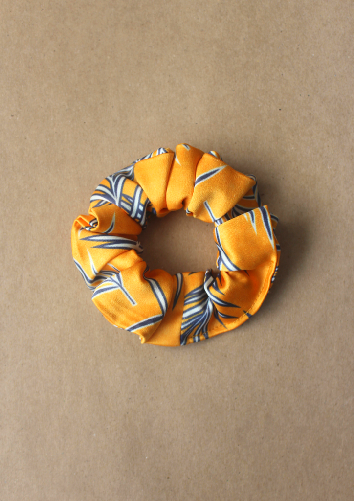 Navy leaves scrunchie