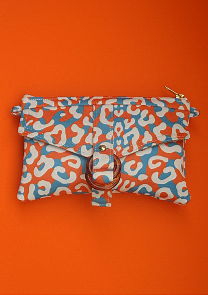 Orange leopard sling bag