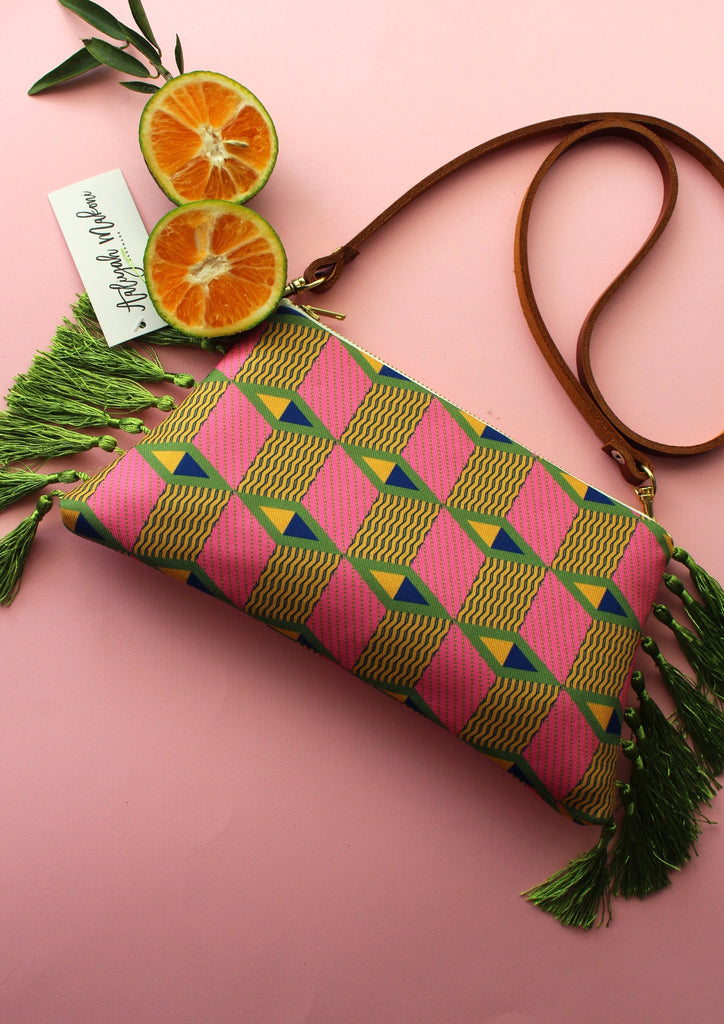 Pink carnation tassel clutch