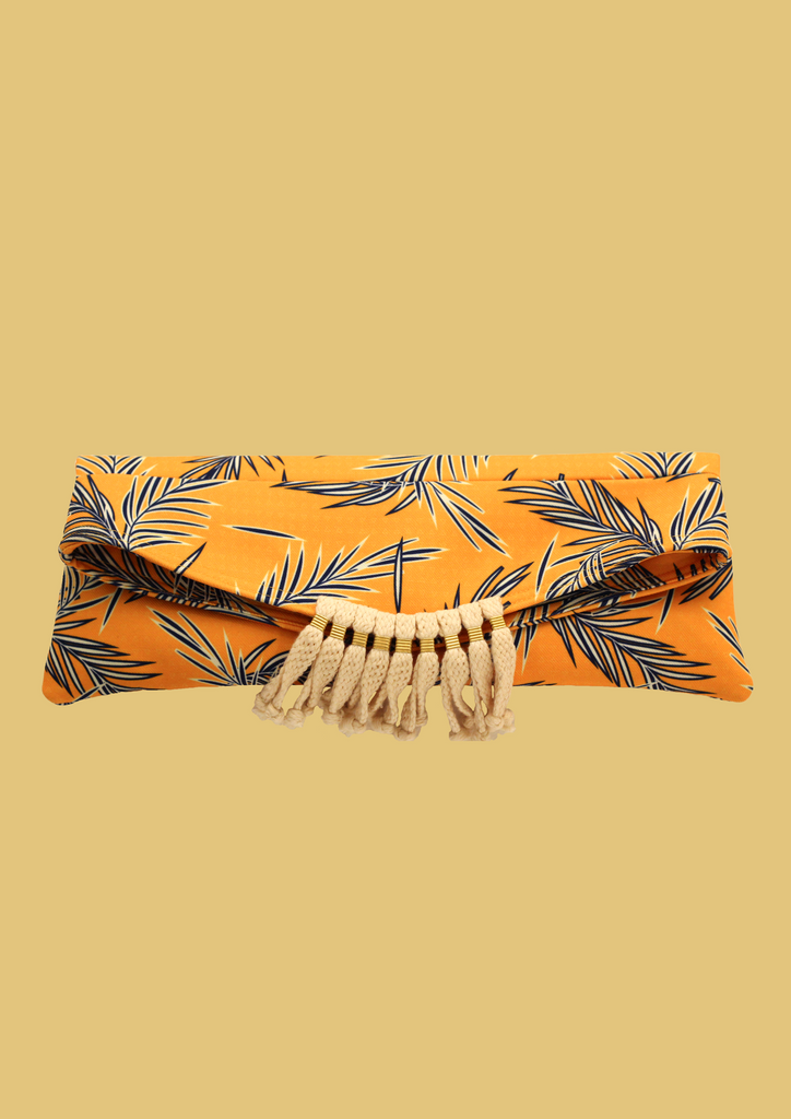 Navy leaves corded clutch