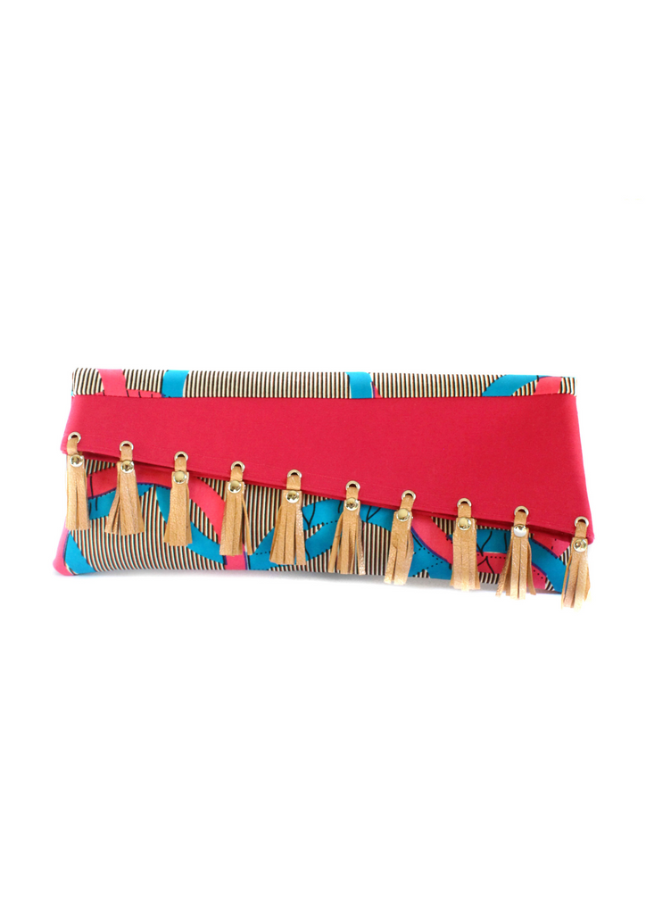 Leather tassel clutch