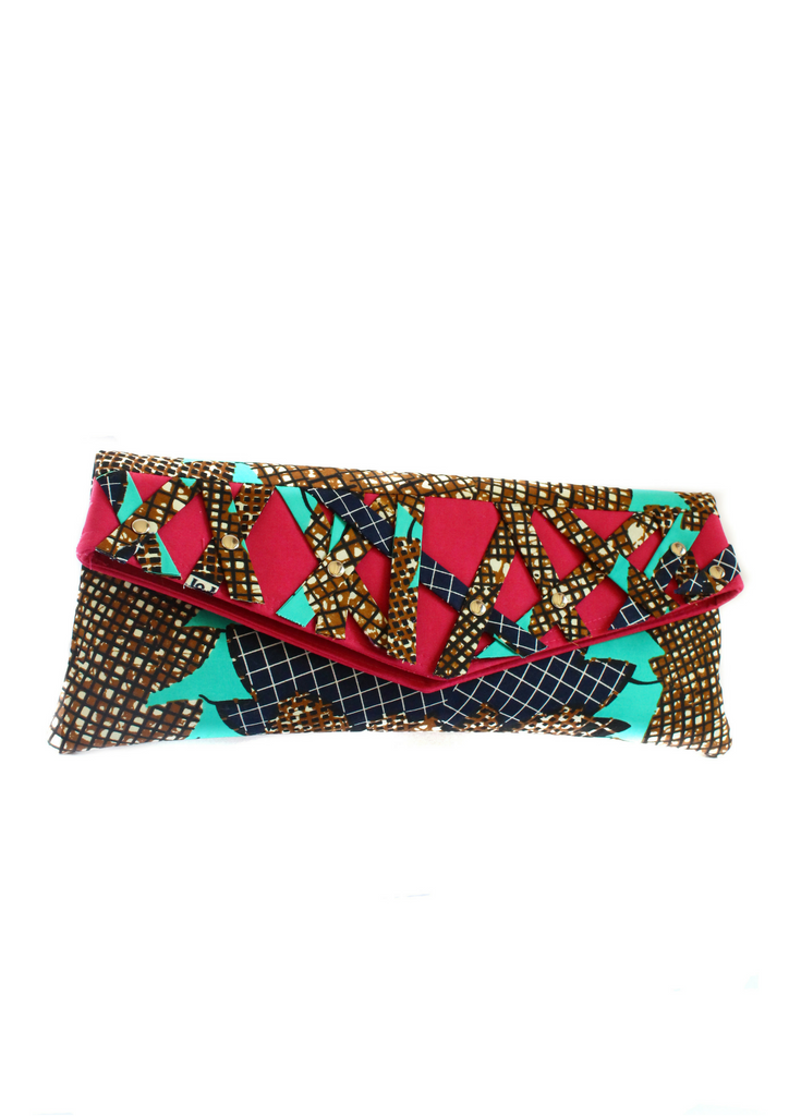 Pink and turquoise clutch