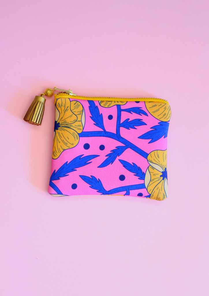 Wild flowers coin pouch