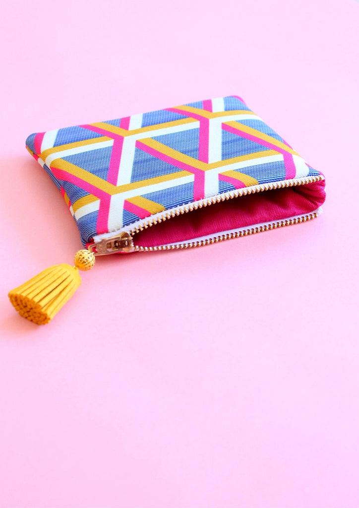 Blue geometric coin pouch