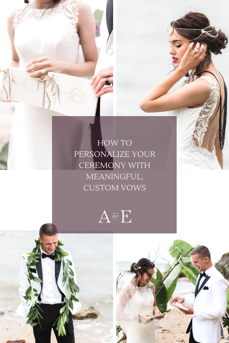 Make your wedding day more intimate with custom vows written by you and your bride/groom-to-be. Custom vows are a way to declare publicly in front of all of your loved ones, the commitment that you and your fiancée have for each other. Read our blog post to find out tips to personalize your wedding ceremony with custom written wedding vows! Photo credit to: April Elizabeth Photography