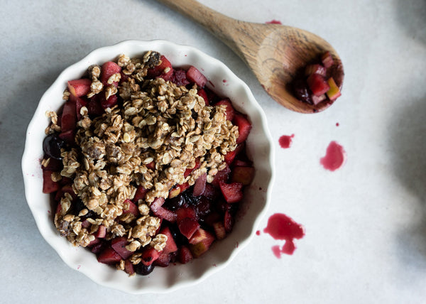 Apple Rhubarb and Frozen Fruit Crumble - Hanna Sillitoe