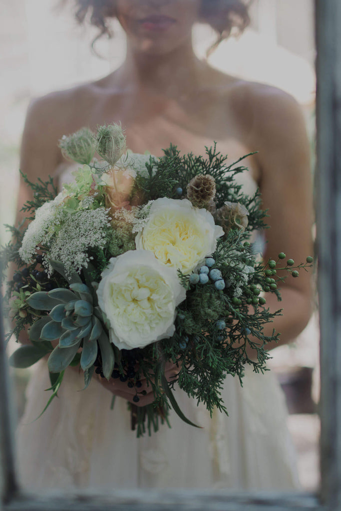 Rose and Succulent Wedding Bouquet by Michler's