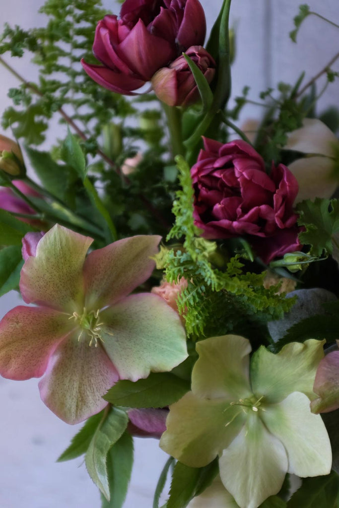 Flower Bouquet with Hellebore and Double Tulips by Michler's Florist