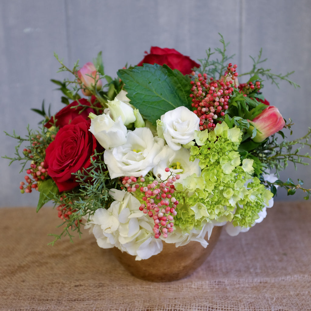 Red white and Green Flower arrangement.