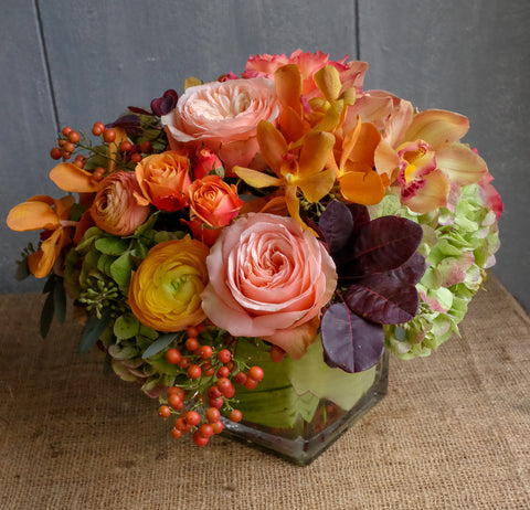 Autumn and Thanksgiving Centerpiece with Orchids, Antique Hydrangea and Ranunculus | Michler's Florist