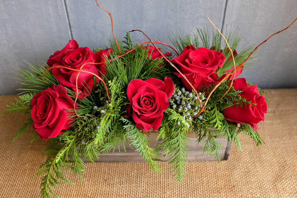 Red Rose Christmas Centerpiece in Wooden Box