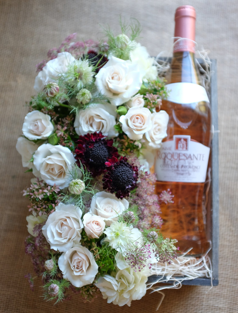 Wine and flowers box by Michlers Florist