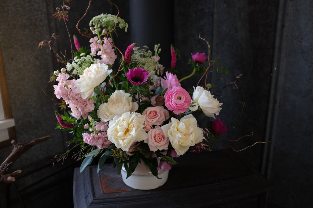 Atwood Flower Bouquet with Maple Branches, Hellebore, and Garden Roses by Michler's Florist