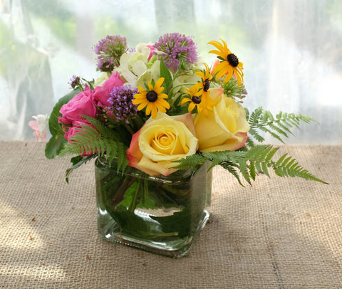 Austin Flower Arrangement: Summer Flowers including Allium, Roses, and Black-eyed Susans. Designed by Michler's in Lexington, KY