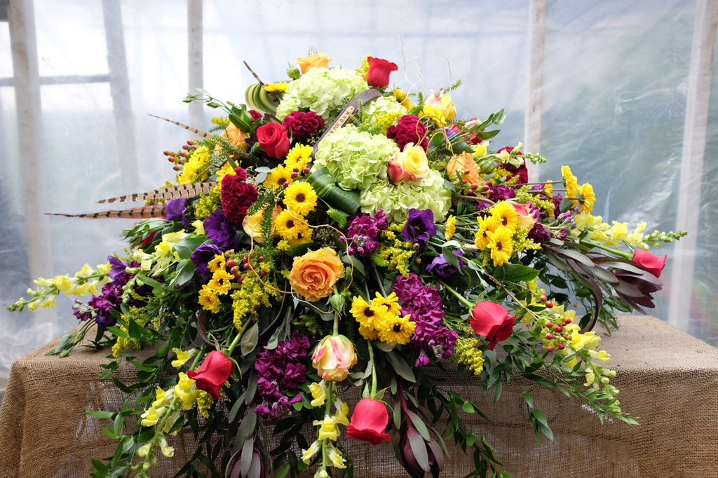 Casket Spray with Autumn Tones. Michler's Florist, Greenhouses & Garden Design
