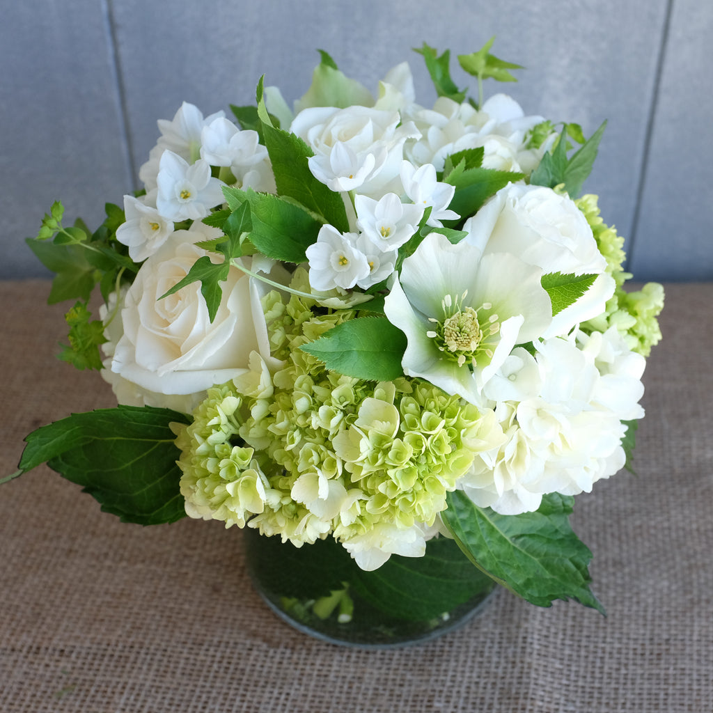Spring Bouquet of white and green flowers by Michler's Florist.