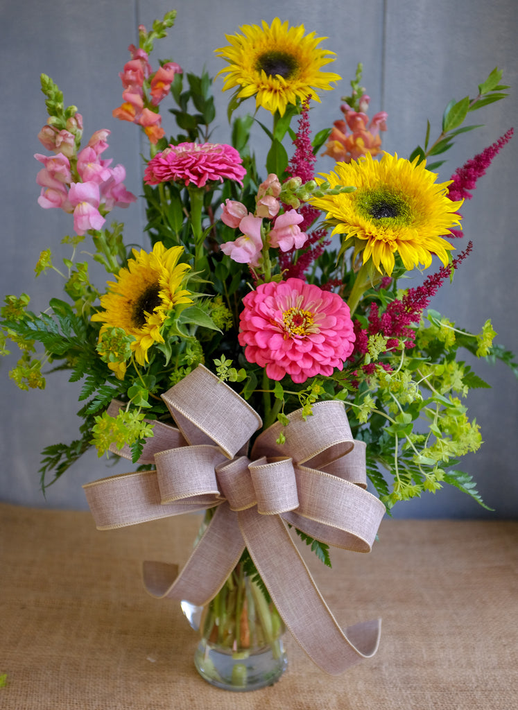 Floral bouquet with summer flowers, sunflowers, snapdragons, and zinnas  by Michler's Florist
