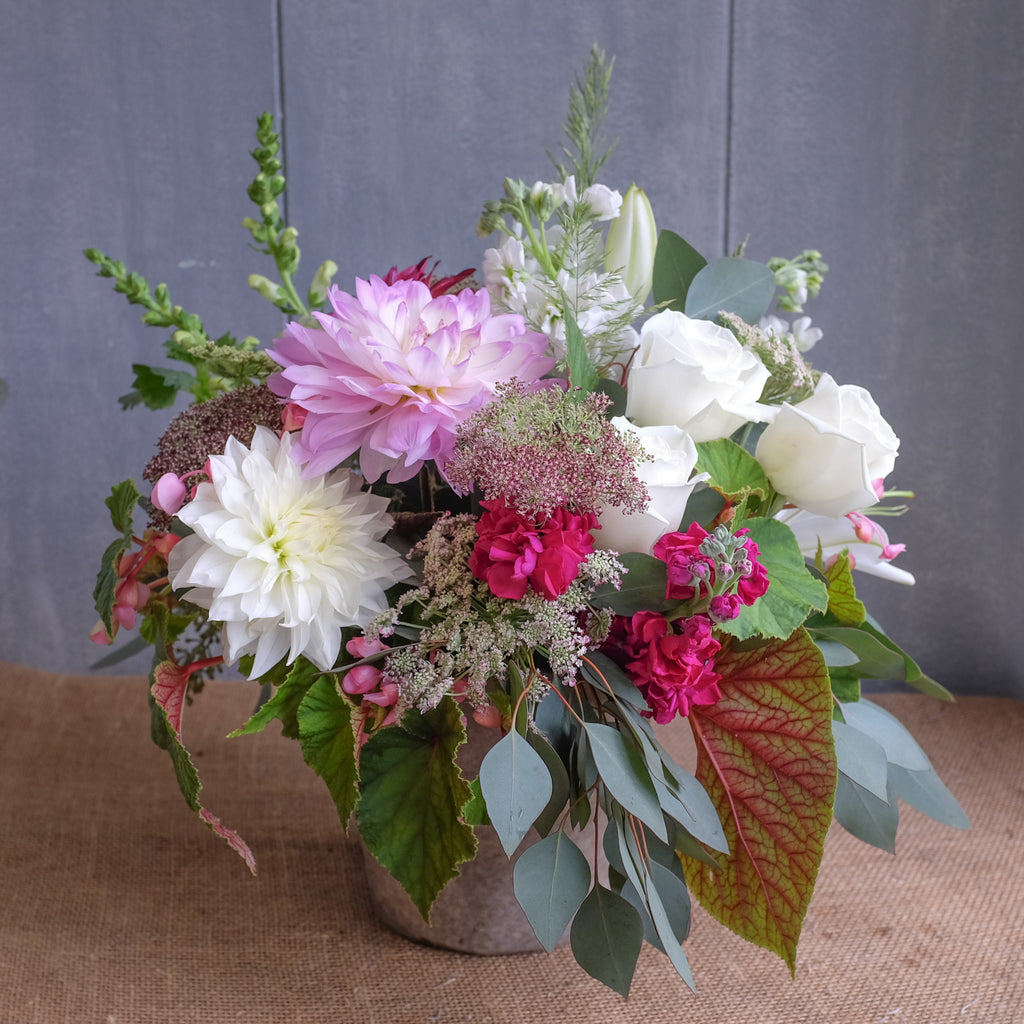 flower arrangement with dahlias, roses, lilies, Queen Anne's lace, and stock by Michler's Florist in Lexington, KY