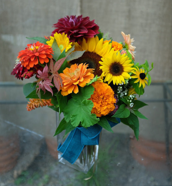 Bloomfield: Bright and vibrant flower bouquet of Zinnias and Sunflowers - Michler's Florist