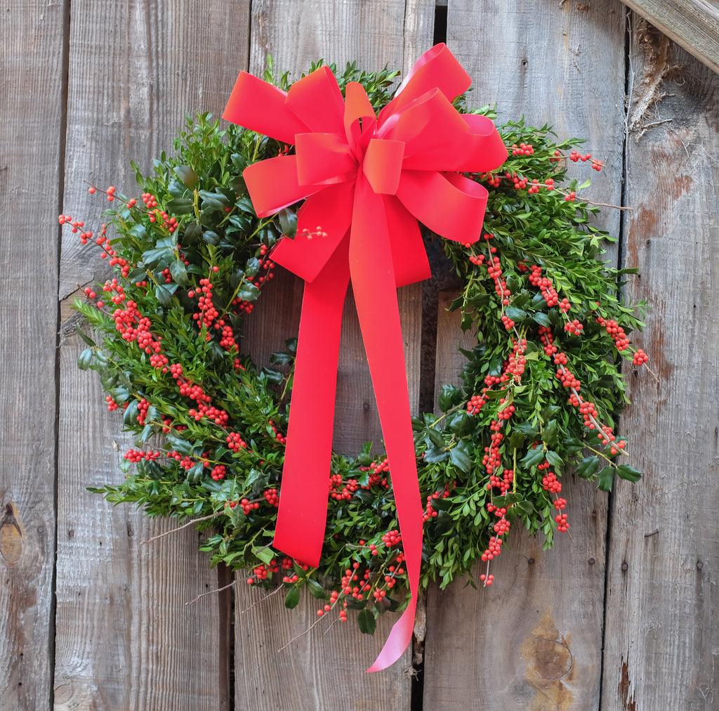 Boxwood and winterberry wreath.