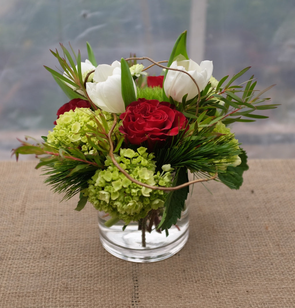 Christmas Flower Arrangement with White Tulips, Red Roses and Hydrangea | Michler's Florist