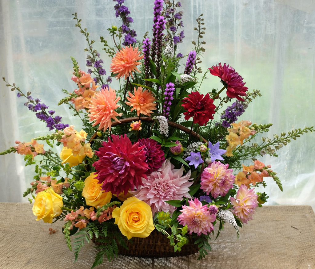 Large Colorful Funeral Flower Basket with Dahlias, Liatris, Larkspur, and Roses | Michler's Florist